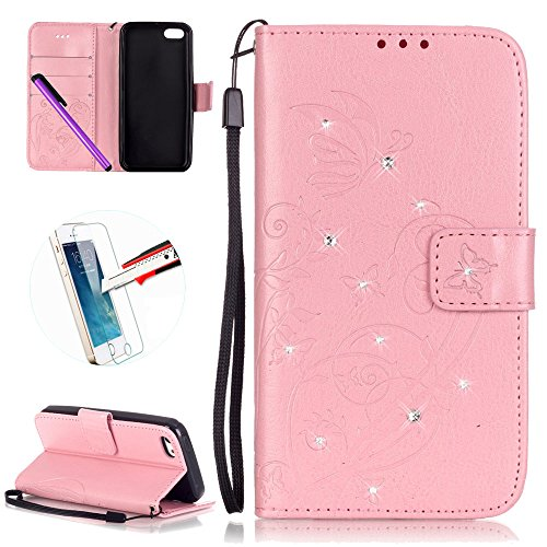 iPhone 5C Case Étui portefeuille en cuir PU pour, newstars Folio Étui à rabat pour Téléphone portable Motif amoureux d'Impression Mobile pour protéger la peau Téléphone Coque pour iPhone 5C en cuir  Drill Pink