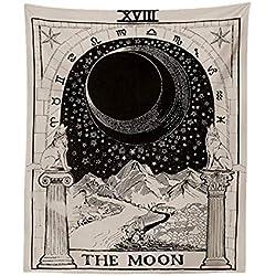 AOLVO Tarot Tapiz Luna Estrella Sol, Tapiz Astrology Tarot Tarjeta Tapiz Medieval Europa Psicedelic Mysterious tapices Divinación Tapiz Pared Manta Colgante decoración del hogar