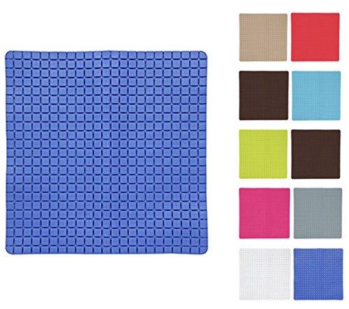 MSV Premium Duschmatte Badematte antibakteriell rutschfest mit Saugnäpfen - Blau - ca. 54 x 54 cm - duftet nach Rosen - waschbar bei 60° Grad