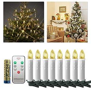 UISEBRT 40er LED Weihnachtskerzen mit Fernbedienung Kabellos Warmweiß Kerzen Flammenlose für Weihnachtsbaum, Weihnachtsdeko, Hochzeitsdeko, Geburtstags, Party, Feiertag (40er mit Batterie)