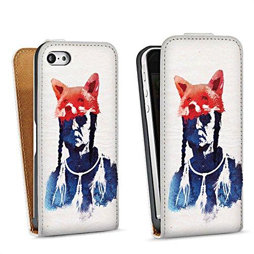 Apple iPhone 5s Housse Étui Protection Coque Renard couleurs Art Sac Downflip blanc