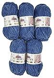 5 x 100 Gramm Babywolle blau 80327, 500 Gramm Wolle hellblau Super Bulky zum Stricken und Häkeln