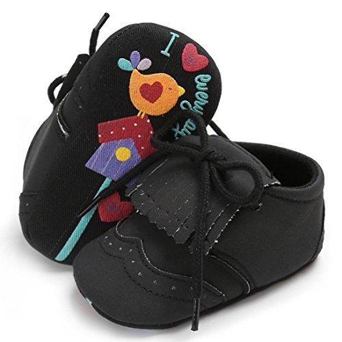 Igemy 1 Paar Säugling Baby Mädchen Jungen Tassel Krippe Schuhe Soft Sole Anti-Rutsch Sneakers Leinwand Schwarz
