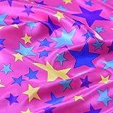 Pink Happy und Bright farbigen Sterne Satin Stoff Fancy