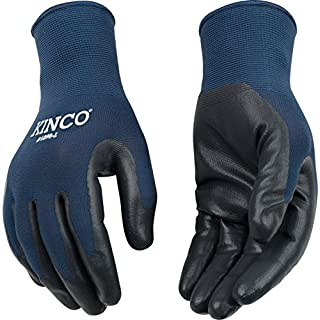Kinco 1890-S-1 Navy blue nylon knit shell, Smooth gray nitrile coated palm, Elastic knit wrist, Size: S