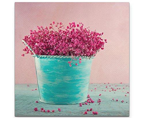 SIN-US 74 Quadro su tela 60x60cm fiori rosa in vaso blu secchi Fotografia formato XXL - Stampa su tela - Quadro poltrone salotto cucina bagno mobili ufficio casa