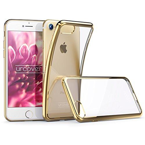 Urcover® Apple iPhone 7 Plus Handyhülle Gold | TPU Silikon Schutzhülle durchsichtig | Spiegelrand Hülle Transparent | Slim Cover Tasche | dünne Schale | Back-Case flexibel | Smartphone Zubehör