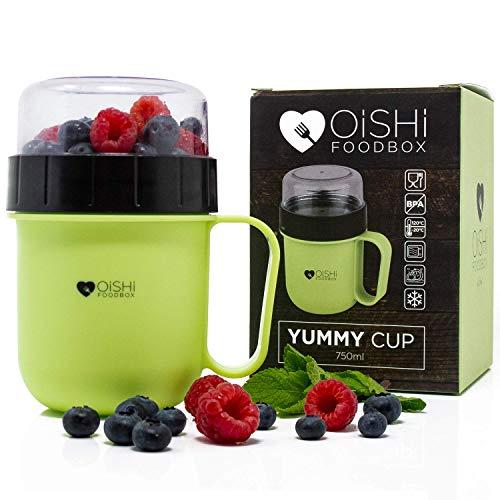 OISHI LUNCHPOT YUMMY CUP - Joghurt & Salat Bento Box 750ml + Extra-Fach für Müsli Obst Früchte & Co - BPA-Frei - Spülmaschine Mikrowelle & Gefrierschrank - Reisebecher Lunchbox To Go Henkel Becher