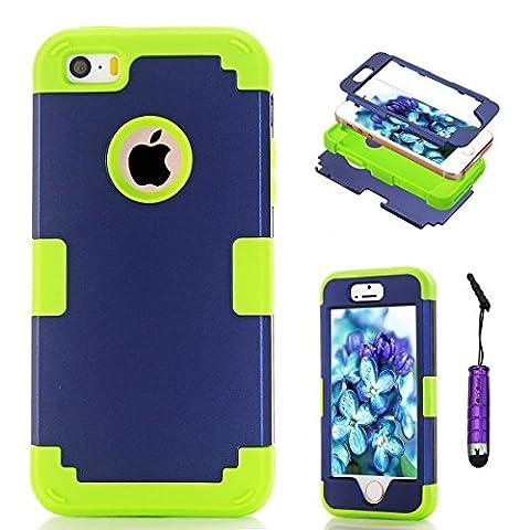 Apple iPhone 5 5s Coque, Moonmini® Ultra mince protection antichoc Combo Goutte protection Case Coque Housse Etui pour Apple iPhone 5 5s, Bleu + vert