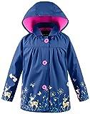 Wantdo Fille et Garçon Veste de Pluie Imprimée à Capuche Léger Blouson Imperméable Bleu marine 7-8Y