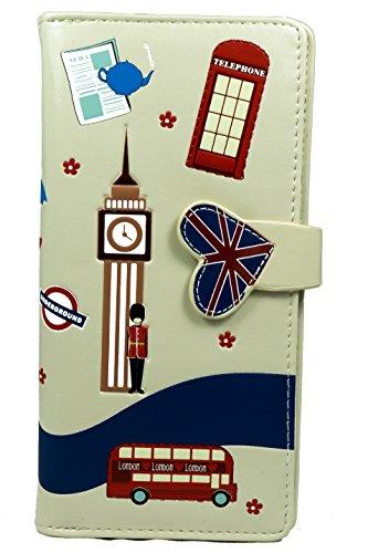 Shagwear Junge-Damen Geldbörse, Large Purse: Verschiedene Farben und Designs: (Straßen von London Creme/Streets of London) London Geldbörse