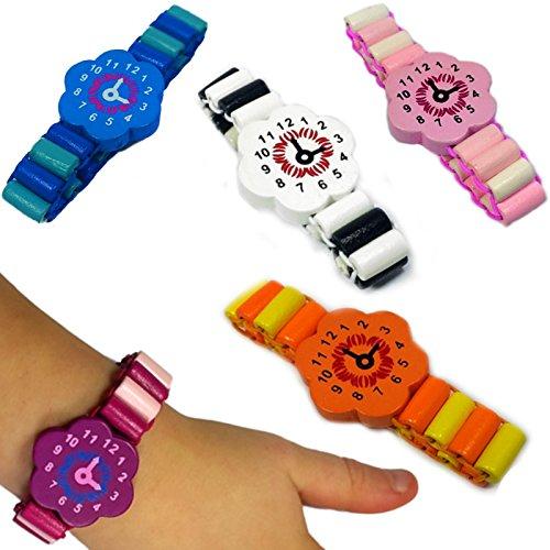 German Trendseller 6 x Armbanduhr Holz ┃ Kinder ┃ Mitgebsel ┃ Kindergeburtstag ┃ Für 6 Kinder