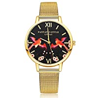 Lvpai Flying Bird Flower Pattern Alloy Mesh Band Quartz Women Wrist Watch -Golden