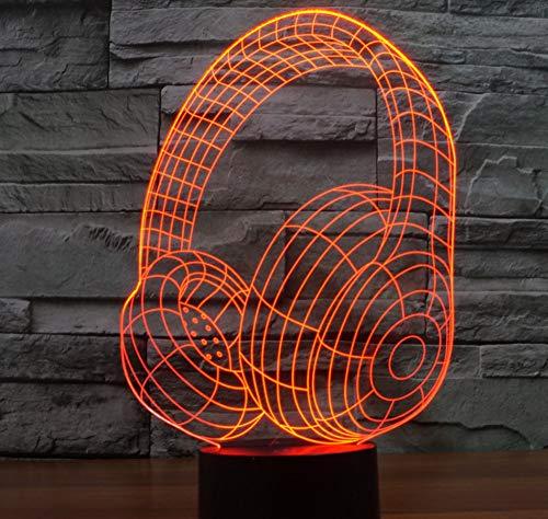 Luces Nocturnas 3D Regalos Para Niños Lámparas De Mesa Led Auriculares Decorativos...