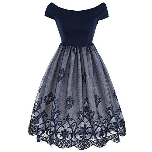 iShine Übergröße Kleid Damen Knielang V-Ausschnitt Festliches Kleid mit Spitze Faltenrock Swing Kleid 50er Jahre Rockabilly Cocktailkleid-BU2XL (50er Jahre Stil Kleid Bis)