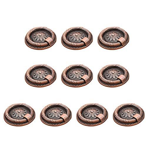 Türschnalle Set / 10 Stücke 37 MM-Durchmesser Vintage Vintage Rustikalen Schrank Brust Antike Bronze Farbe Griffe Pull Ring Shutter Bücherregal Schublade Kreis Ring Drop Pull Griffe Türbeschläge -