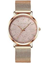 015a277d0ecc Reloj de Oro Rosa para Mujer Reloj de Cuarzo analógico de Malla de Acero  Inoxidable para