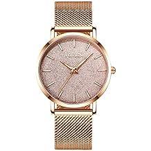 Reloj de Oro Rosa para Mujer Reloj de Cuarzo analógico de Malla de Acero Inoxidable para