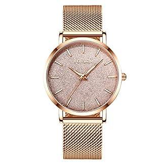 Frauen-Rose-Gold-Uhr-Analog-Quarz-Edelstahl-Mesh-Band-Lssige-Mode-Damen-Armbanduhren