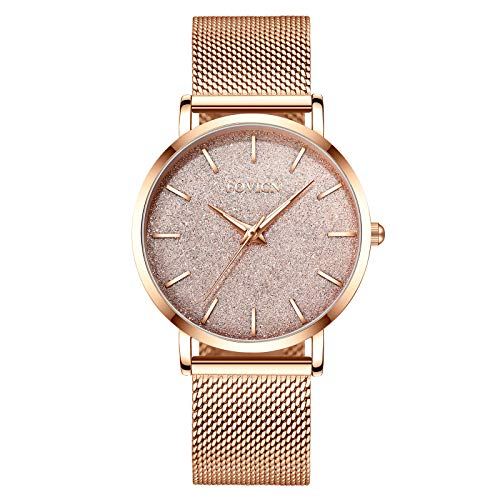 Femmes Montre en Or Rose Quartz analogique en Acier Inoxydable Mesh Band Casual Fashion Ladies...