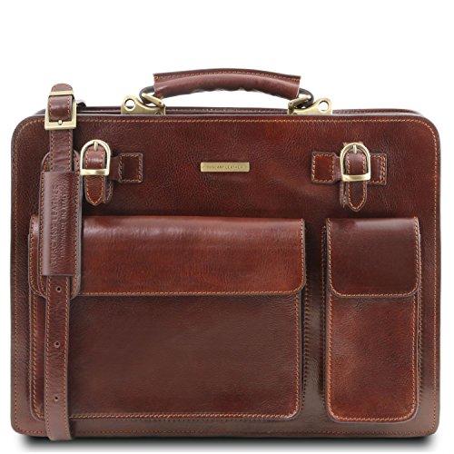 Tuscany Leather - Venezia - Aktentasche aus Leder 2 Fächer Dunkelbraun - TL141268/5 Braun