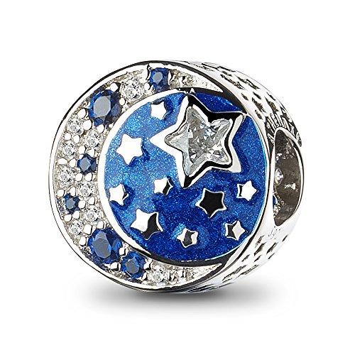 ATHENAIE 925 Sterling Silber Ich Liebe Dich bis zum Mond und zurück Schimmernde mitternachtsblaue Emaille Charms Perlen für europäische Armbänder
