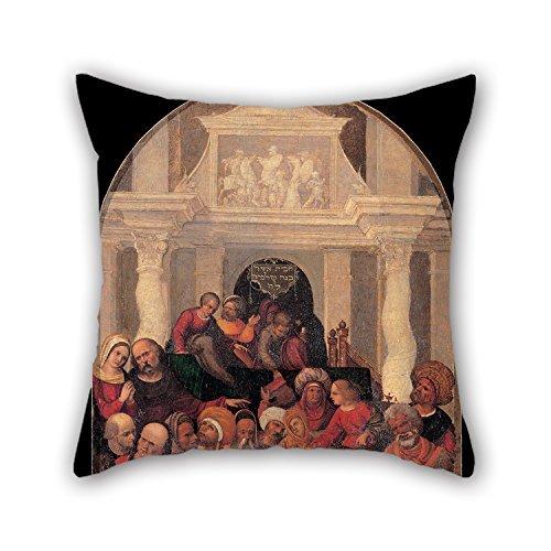 Ölgemälde Ludovico Mazzolino 's Workshop–Christus unter den Ärzte Überwurf Kissenbezügen, besten für Familie, Vater, Boden, Weihnachten, Couch, Teens Jungen 45,7x 45,7cm/45von 45cm (2Seite (Baseball Schwellen)