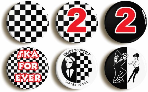6 x Ska and 2 Tone Button Badges
