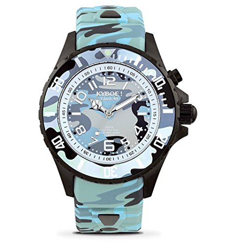 KYBOE! Quartz Stainless Steel and Silicone Watch (Model: Blue Camo)