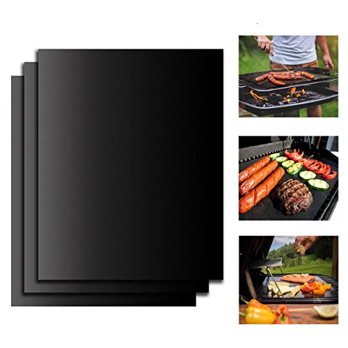 Tegollus BBQ Grill Mat Set of 3 - Non Stick Oven Liner Teflon Cooking Mats - Perfect for Baking on Gas, Charcoal, Oven and Electric Grills - Reusable, Durable, Heat Resistant Barbecue Sheets For Grilling Meat, Veggies, Seafood (3 PCS)