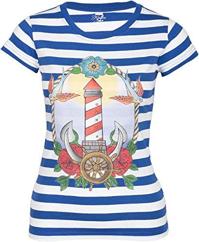 Küstenluder Damen Oberteil Leuchtturm Streifen Shirt Blau M (Rockabilly-retro-shirt)