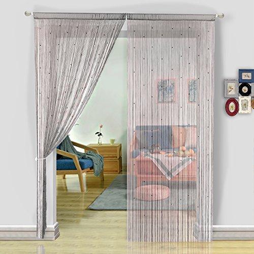ing Vorhang Perlen Perlen Tür Vorhang Trennwand Home Decor, Polyester, grau, 90x200cm (Tür-vorhänge Perlen)