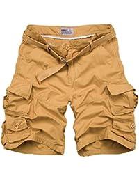 Yonglan Hombre Militar Cortos de Carga Camuflaje Bermuda Cortos Pantalones  Deporte Shorts Multi Bolsillos Moda Pantalones b314d563f13a