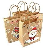 Justdolife 12PCS Sacchetto Regalo Kraft Calza da Babbo Natale Alce Sacchetto Regalo di Carta Natalizia