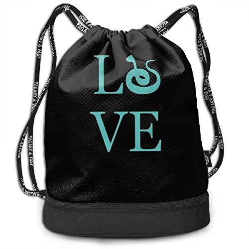 Ich Liebe Schlangen Drawstring Rucksack für Herren und Damen, 100% Polyester Athletic Backpack (Ich Liebe Schlangen)