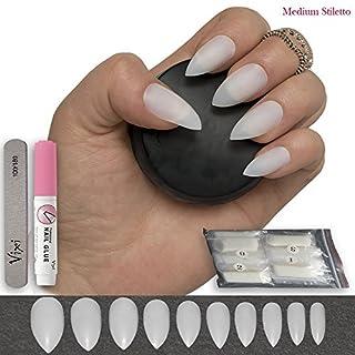 Stiletto-Nägel in 10 Größen, 600 Stück, mittlere Nagelspitzen, volle Deckkraft in natürlichen undurchsichtigen Farben, kräftig, für Acryl- und Nagelkunst, Nagelstudios und DIY-Nagelkunst. Kleben