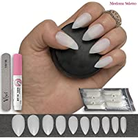 600 piezas de uñas 10 tamaños – falso uñas Consejos tamaño mediano, Natural opaco acrílico uñas postizas pegamento.