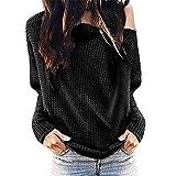Damen EIN-Schulter T-Shirt Langarm Outfit Mode Bluse Oberteile Frauren Sexy Off-Schulter Tuniken Sweatshirt Oversize Pulli Pullovershirt Cool Streetwear Kleidung