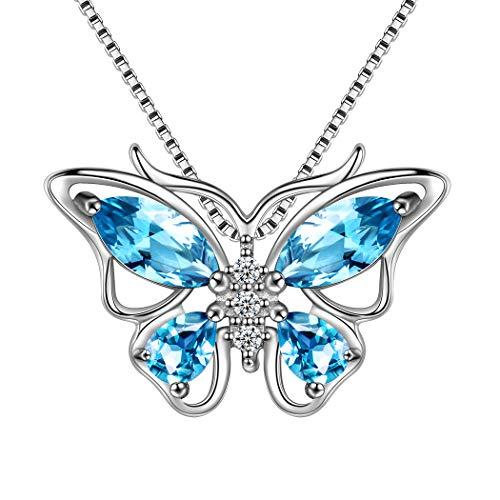 AuroraTears 925 Sterling Silber Schmetterling Halsketten Crystal Swiss Sky Blue Topas März Birthstone Blue Aquamarin Anhänger Halskette Geschenk für Frauen und Mädchen DP0013S (Topas-anhänger-halskette Blue)