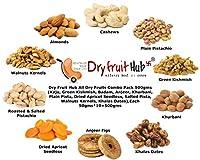 Dry Fruit Hub All Dry Fruits Combo Pack 500gms (Kaju, Green Kishmish, Badam, Anjeer, Khurbani, Plain Pista, Dried Apricot Seedless, Salted Pista, Walnuts Kernels, Khalas Dates),Each 50gms*10=500gms