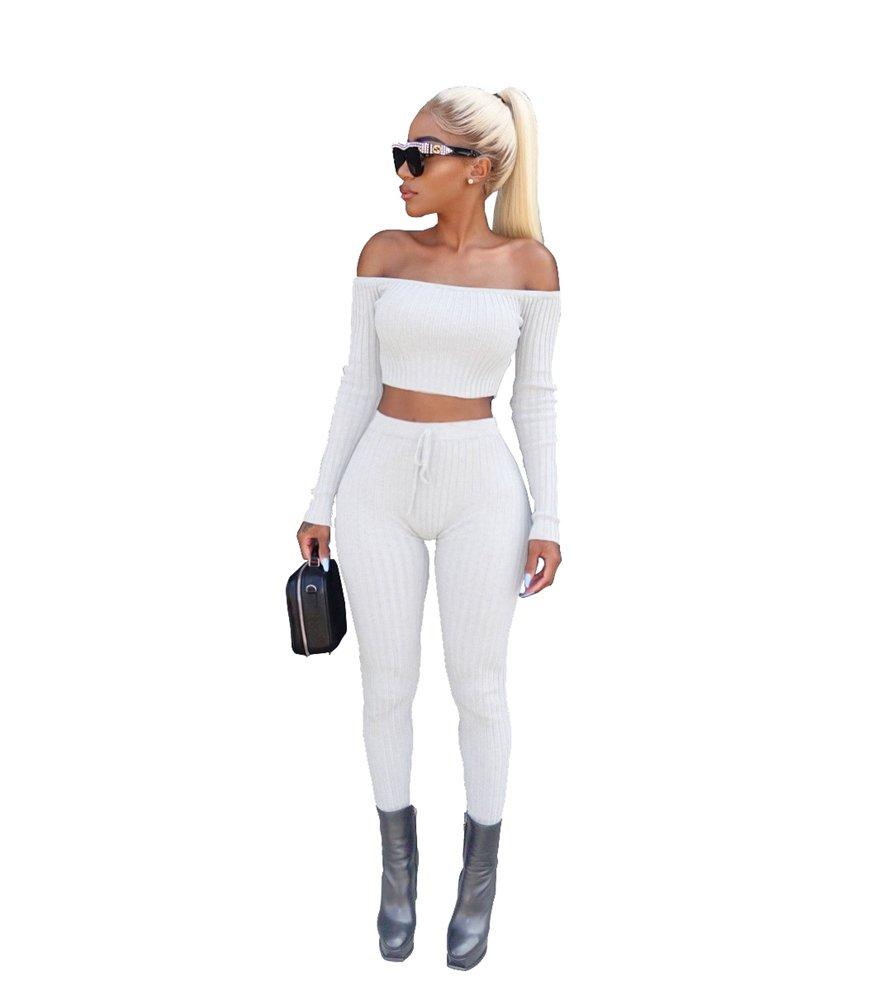 YAANCUN Mujer Color Sólido Elasticidad Training Fitness Yoga Sports Top Pantalones De Yoga Sports Pantalones 2 Piezas Conjuntos