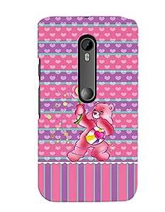 Citydreamz Pink Teddy Love Hearts Hard Polycarbonate Designer Back Case Cover For Motorola Moto G Dual SIM (Gen 3), Motorola Moto G3 Dual SIM