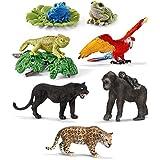 Schleich Animales de la jungla - Pantera guacamayo jaguar gorila rana camaléon 6 figuras