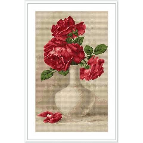 Luca-S - Kit punto croce numerato, soggetto: rose rosse
