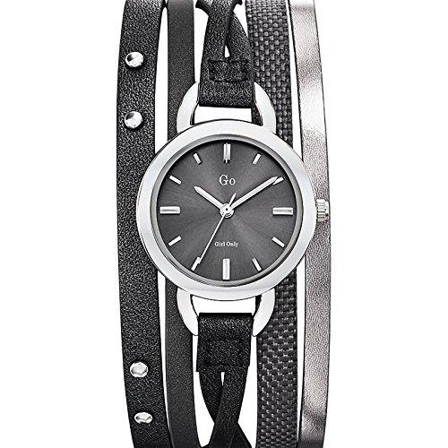 Go Girl Only 698536 Analoge Quartzuhr für Damen, graues Zifferblatt, Armband aus grauem Leder