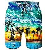 AIDEAONE Herren Hawaii Schnell Trocknende Beach Shorts 3D Print Grafik Badehose