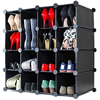 Andrew James Shoe Rack Storage Organiser with 16 Modular Interlocking Cubes | Wipe Clean Plastic Shelving Storage Unit | Create DIY Flexible Solutions To Fit All Spaces | Use Under Stairs in Hallways and Bedrooms