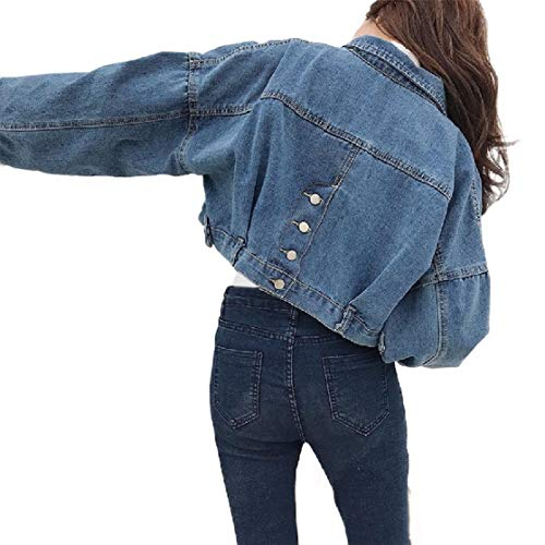 CuteRose Women BF Style Long-Sleeve Simple Vintage Cropped Jeans Jacket Coat Dark Blue L Sherpa Lined Denim