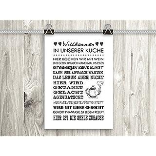 artissimo, Poster mit Spruch, Din A4, PE0042-DR, Willkommen in unserer Küche.., Bild mit Spruch, Spruchbild, Wandbild, Plakat, Kunstdruck, Zitat, Sprüche, Wanddekoration