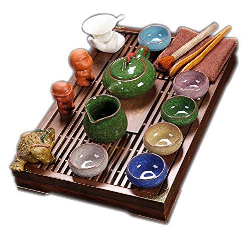 ufengke® Tee-Set Exquisite Keramik Porzellan Kungfu Teetasse Mit Deckel Und Holz Tee-Tablett Setzen